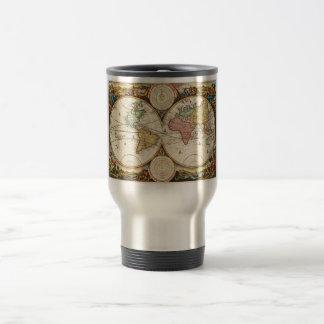 Art rare du monde de la carte deux d'antiquité vin mug à café
