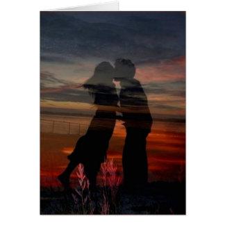 Art romantique de carte de voeux d'amants de