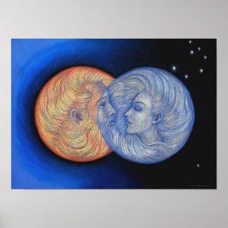 Art romantique de déesse de Dieu de lune de Sun Posters