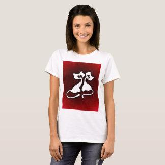 Art romantique mignon de T-shirt de couples de