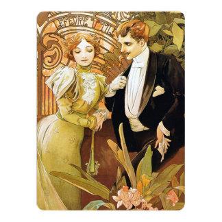 Art romantique vintage Nouveau de flirt d'Alphonse Carton D'invitation 16,51 Cm X 22,22 Cm