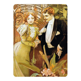 Art romantique vintage Nouveau de flirt d'Alphonse Cartons D'invitation