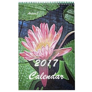 Art rose de nénuphar de 2017 calendriers d'une