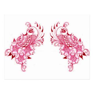 Art rose de paon de henné de 2 Mehndi Carte Postale