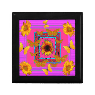 art rose de papillons jaunes de tournesols boîte à souvenirs