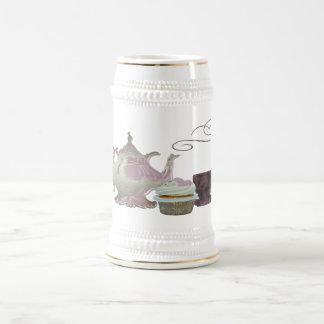 Art rose de théière, de tasse de thé et de petit