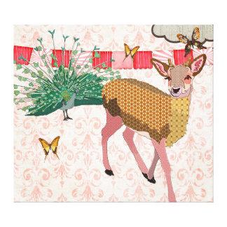 Art rose d'or de toile de cerfs communs et de paon impression sur toile