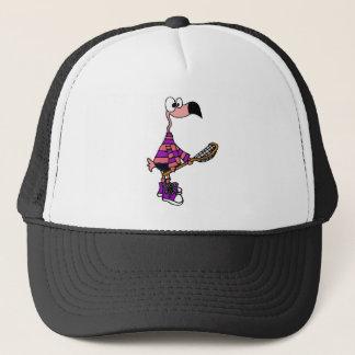 Art rose drôle de lacrosse de flamant casquette
