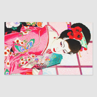 Art rose japonais frais de fan de Madame Geisha de Adhésif