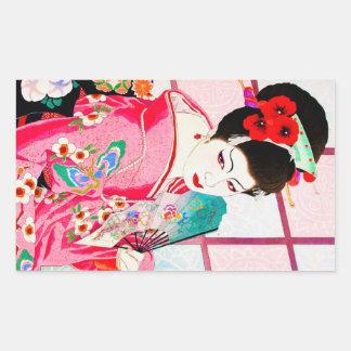 Art rose japonais frais de fan de Madame Geisha de Sticker Rectangulaire