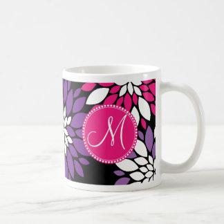 Art rose pourpre de fleur blanche de monogramme mug