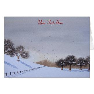Art rural de paysage de scène de neige de Noël Cartes De Vœux
