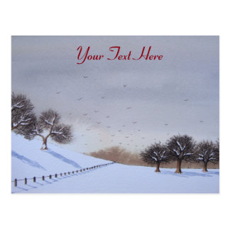 Art rural de paysage de scène de neige de Noël Carte Postale
