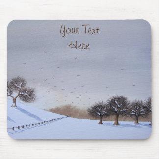 Art rural de paysage de scène de neige de Noël Tapis De Souris