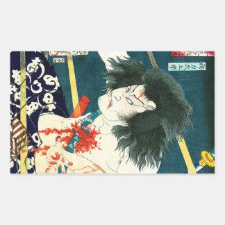 Art samouraï de guerrier de rétro woodprint japona autocollant