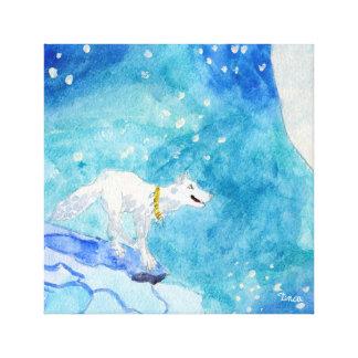 Art solitaire de mur de toile de loup blanc toiles