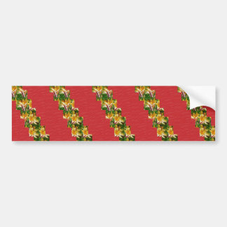 ART soyeux rouge de regard de tissu de fleurs d'or Autocollants Pour Voiture