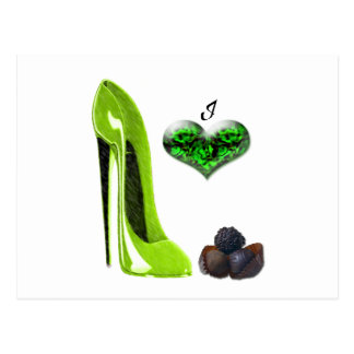 Art stylet de chaussure et de chocolats de vert de cartes postales