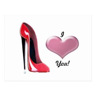 Art stylet rouge de chaussure de talon haut cartes postales