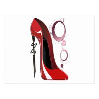 Art stylet rouge de chaussure et de bracelets cartes postales