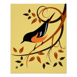 Art stylisé de Baltimore Oriole Posters