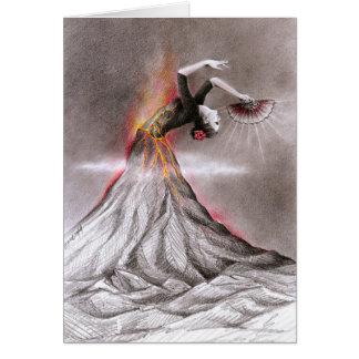 Art surréaliste de crayon de volcan de femme de carte de vœux