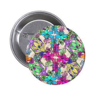 Art texturisé de fleur badge