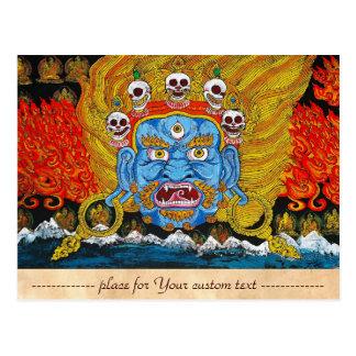 Art tibétain oriental frais de tatouage d'un dieu carte postale