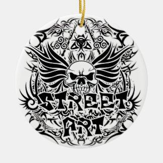 Art tribal de rue de tatouage ornement rond en céramique