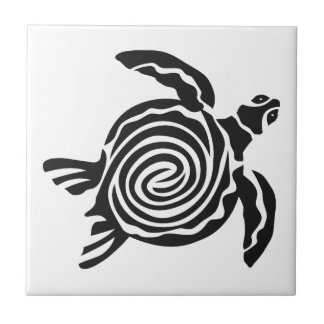 Art tribal noir et blanc de tortue carreau