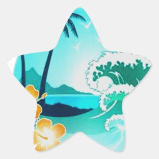 ART TROPICAL HAWAÏEN DE SURF STICKER ÉTOILE