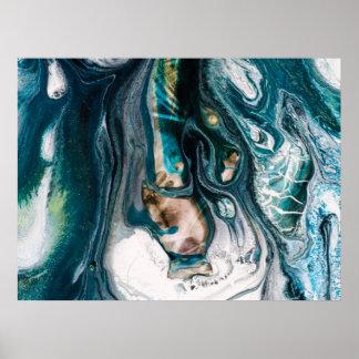 Art turquoise marbré d'océan d'Abstact Poster