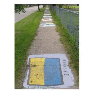 Art ukrainien de trottoir de drapeau carte postale