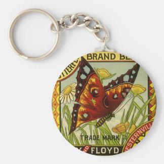 Art végétal vintage d'étiquette, haricots de porte-clé rond