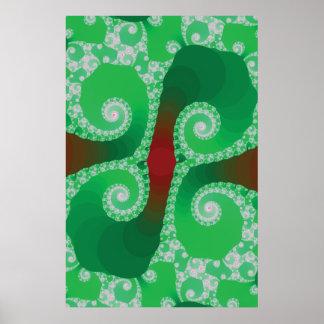 Art vert de fractale posters