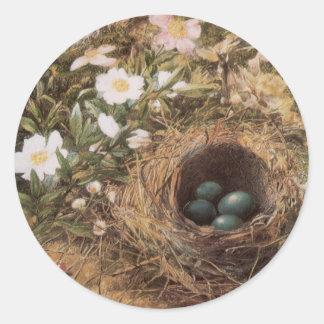Art victorien, nid d'oiseaux et roses de chien par sticker rond