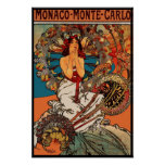 Art vintage Alfons Mucha Monaco Monte Carlo d'affi
