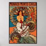 Art vintage Alfons Mucha Monaco Monte Carlo d'affi Affiche