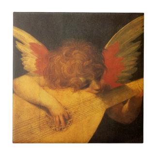 Art vintage, ange de musicien par Rosso Fiorentino Petit Carreau Carré