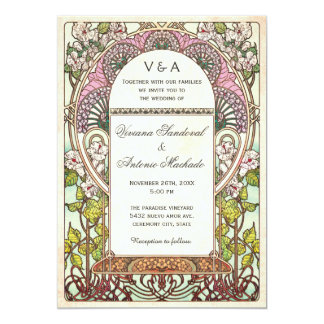 Art vintage coloré Nouveau d'invitations de Carton D'invitation 12,7 Cm X 17,78 Cm