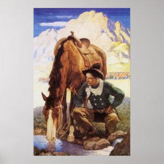 Art vintage, cowboy arrosant son cheval par OR Affiches