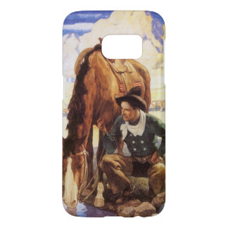 Art vintage, cowboy arrosant son cheval par OR Coque Samsung Galaxy S7