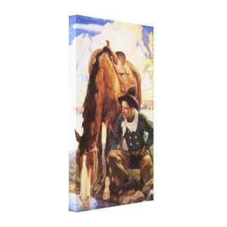 Art vintage, cowboy arrosant son cheval par OR Toiles Tendues