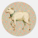 Art vintage d'agneau adhésif rond