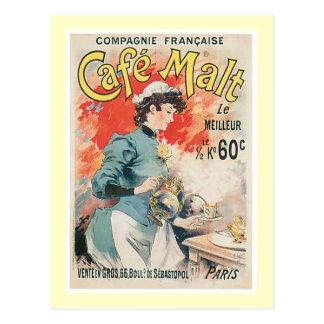 Art vintage d'annonce de boissons de café de malt carte postale