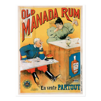 Art vintage d'annonce de boissons de vieux rhum de cartes postales