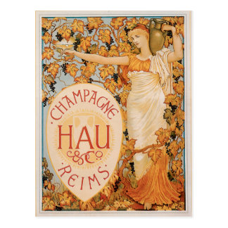 Art vintage d'annonce de boissons de vin de carte postale