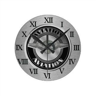Art vintage d'aviation horloge ronde