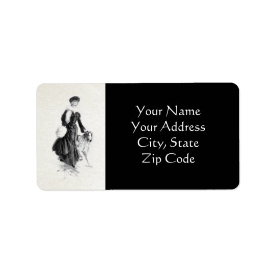 Art vintage de barzoï de mode étiquettes d'adresse