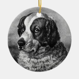 Art vintage de chien de St Bernard Ornement Rond En Céramique